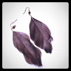 Boho Chic Feather Drop Dangle Earrings Brown